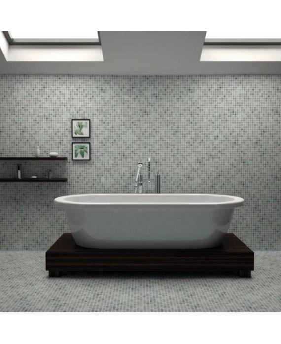 Emaux de verre piscine gris nuancé mosaique salle de bain mosbr-4001 2.5x2.5x0.4cm sur trame.