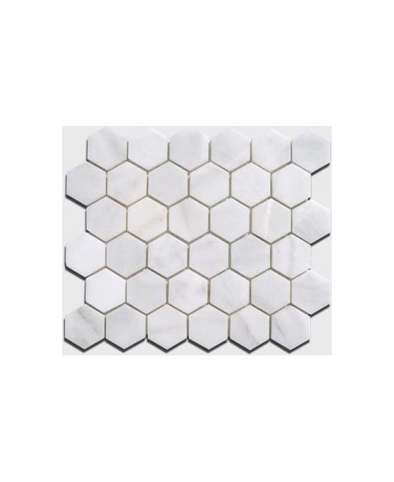 mosaique salle de bain hexagone de marbre blanc 4.8cm sur plaque 30.5x30.5x1cm