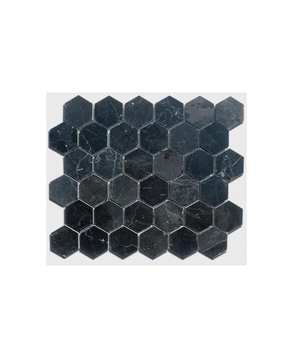mosaique salle de bain hexagone de marbre noir 4.8cm sur plaque 30.5x30.5x1cm
