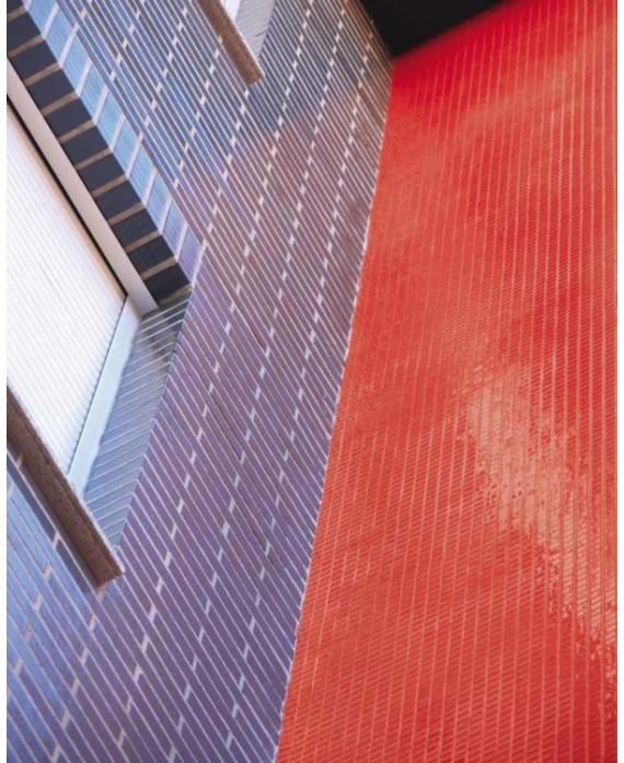 Emaux de verre rouge piscine mosaique salle de bain mosmc-902 2.5x2.5cm sur trame.