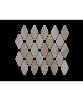 mosaique losange de pierre beige et noir sur trame 30x30x1cm
