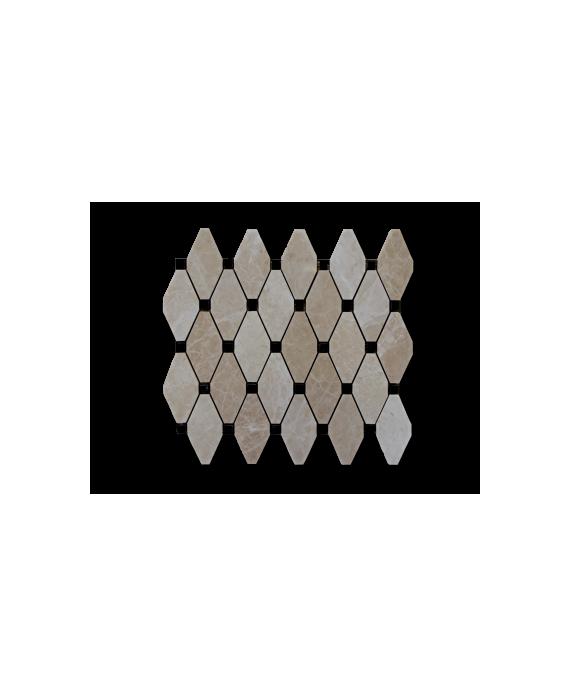 mosaique salle de bain losange de pierre beige et noir sur trame 30x30x1cm