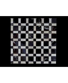 mosaique échiquier de pierre beige et noir sur trame 30x30x1cm