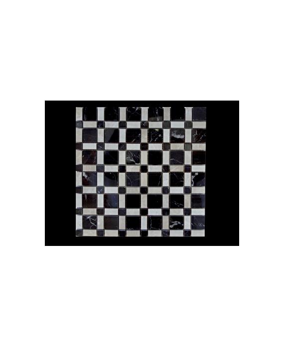 mosaique salle de bain D échiquier de pierre beige et noir sur trame 30x30x1cm
