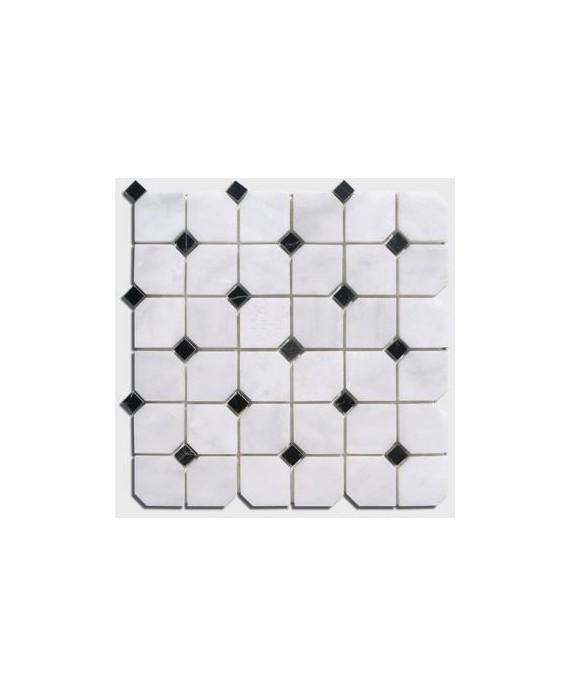 mosaique salle de bain D octogone marbre blanc avec cabochon noir sur trame 30.5x30.5x1cm