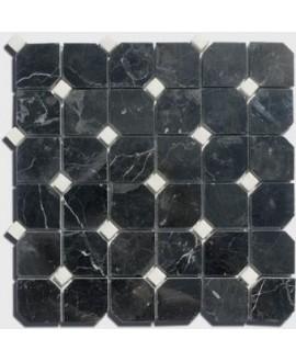 mosaique octogone marbre noir avec cabochon blanc sur trame 30.5x30.5x1cm