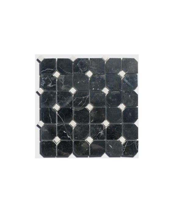 mosaique salle de bain D octogone marbre noir avec cabochon blanc sur trame 30.5x30.5x1cm