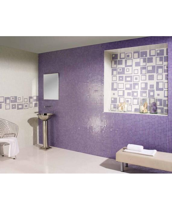 Emaux de verre violet piscine mosaique salle de bain mosmc-602 2.5x2.5cm sur trame.