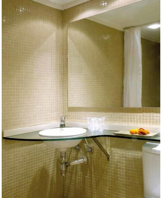 Emaux de verre beige salle de bain mosaique piscine crédence cuisine mosmc-502 2.5x2.5cm sur trame.