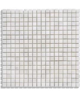 mosaique marbre blanc 1.5x1.5cm sur trame 30.5x30.5x1cm