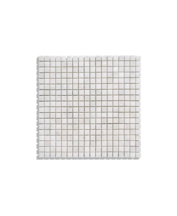 mosaique salle de bain D marbre blanc 1.5x1.5cm sur trame 30.5x30.5x1cm