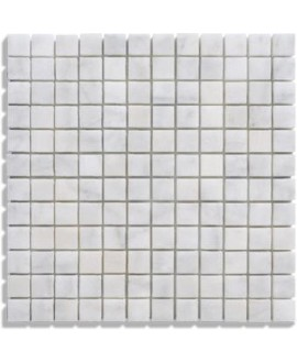 mosaique salle de bain D marbre blanc 2.3x2.3cm sur trame 30.5x30.5x1cm