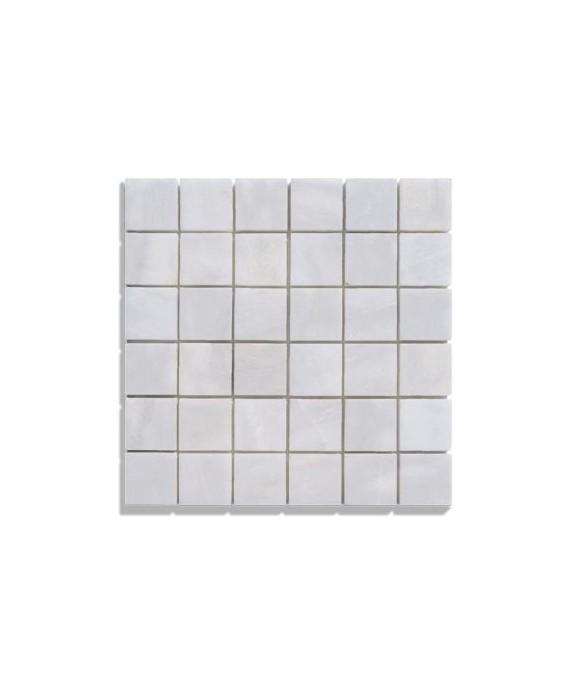 mosaique salle de bain marbre blanc 4.8x4.8cm sur trame 30.5x30.5x1cm
