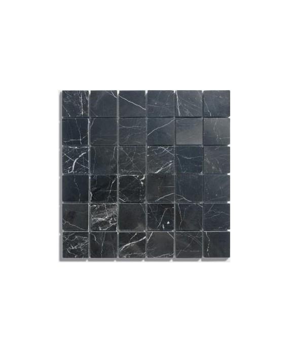 mosaique salle de bain D marbre noir 4.8x4.8cm sur trame 30.5x30.5x1cm