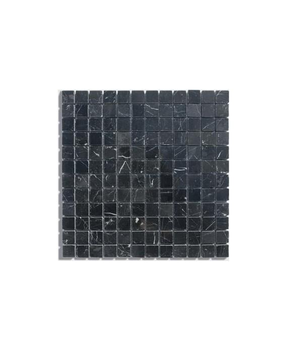 mosaique salle de bain D marbre noir 2.3x2.3x1cm sur trame 30.5x30.5x1cm