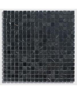 mosaique marbre noir 1.5x1.5cm sur trame 30.5x30.5x1cm