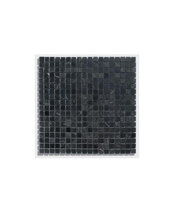 mosaique salle de bain D marbre noir 1.5x1.5cm sur trame 30.5x30.5x1cm