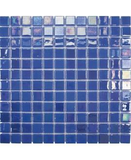 Emaux de verre bleu aspect métal piscine mosaique salle de bain acquaris narciso 2.5x2.5 cm