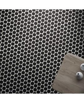 Carrelage rond noir mat sur plaque 30.9x30.9cm, épaisseur 9mm, realcircle black