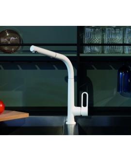Mitigeur évier blanc mat avec douchette extractible en laiton 2 jets avec ressord de rappel F7026BS