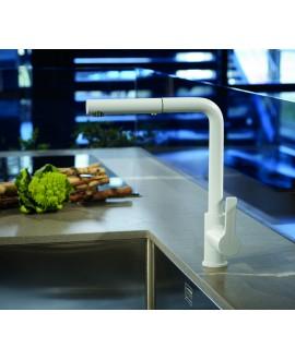 Mitigeur évier blanc mat design robinet contemporain avec douchette en laiton extractible 1 jet F7029NOTBS norme NF.