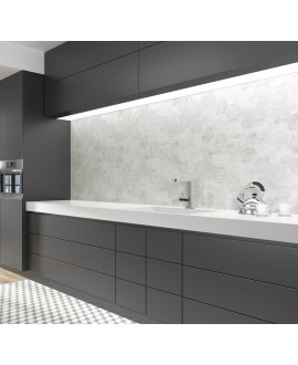 Carrelage imitation marbre blanc ou gris mat hexagone 13.9x16cm apeverona