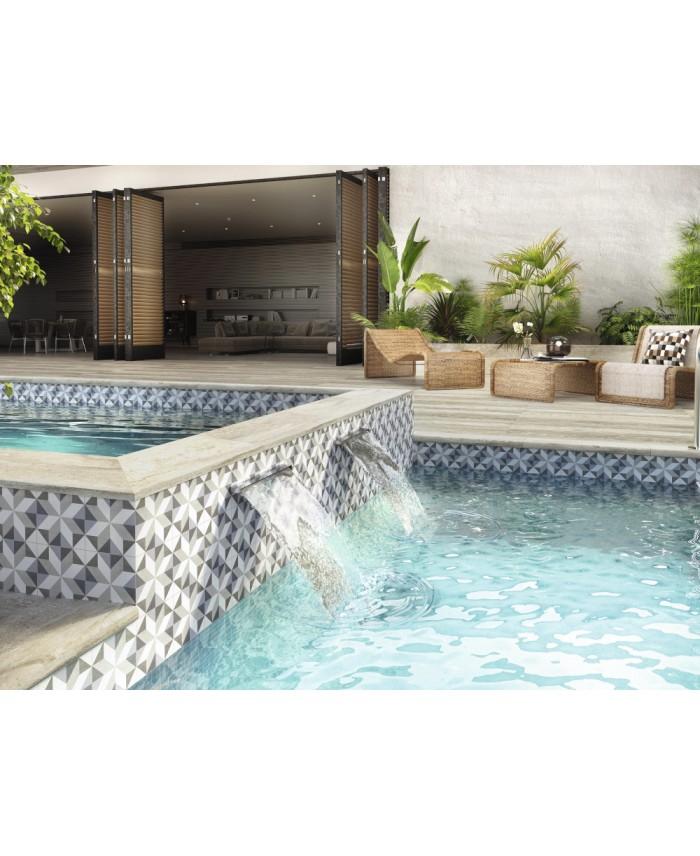 Carrelage piscine imitation carreau ciment gris et blanc 15x15x0.9cm, R10 apegina
