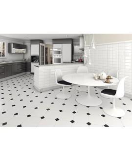 Carrelage V alaska octogone blanc mat cuisine 31.6x31.6cm avec cabochon noirs 6.7x6.7cm