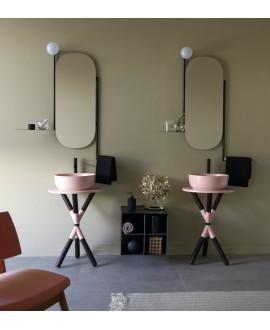 Meuble console de salle de bain bois foncé et céramique rose avec une vasque ronde à poser rose mat scarcross 54