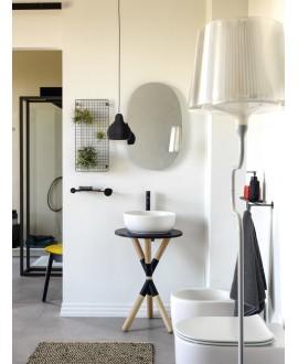 Meuble console de salle de bain bois clair et céramique noire 35 avec une vasque ronde à poser blanc mat scarcross 41