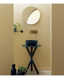 Meuble console de salle de bain bois fonçé et céramique avec une vasque ronde à poser vert scarcross musk 55 mat