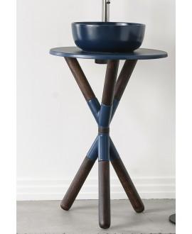 Meuble console de salle de bain bois fonçé et céramique bleu avec une vasque ronde à poser bleu mat scarcross 56