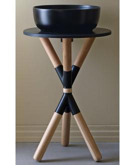 Meuble console de salle de bain bois clair et céramique noir avec une vasque ronde à poser noir mat scarcross 35