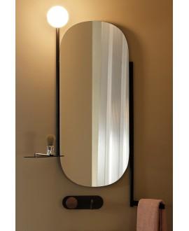 Miroir avec porte serviette, tablette, applique intégrée noirs L:45cm H:90cm