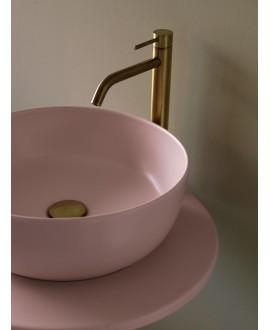 Vasque ronde rose mat en céramique 33x12.5cm et 39x14cm scarglam antique pink 54