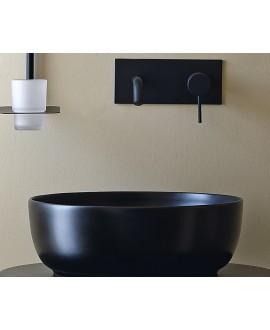 Vasque ronde noir mat en céramique 33x12.5cm et 39x14cm scarglam night 35