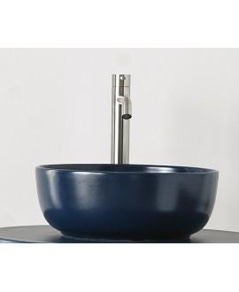 Vasque ronde bleu mat en céramique 33x12.5cm et 39x14cm scarglam