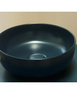 Vasque ronde vert mat en céramique 33x12.5cm et 39x14cm scarglam musk 55