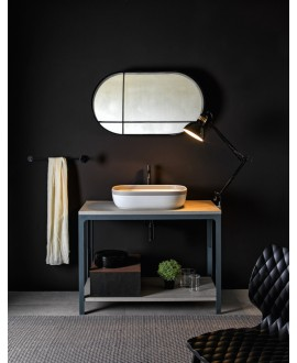 Meuble console de salle de bain métal GRG et bois 88 100x50cm avec une vasque scarglam SENR 56x39cm scarable