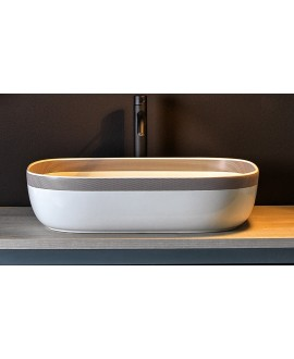 Vasque ovale blanc brillant en céramique 56x39cm hauteur 14cm avec liseret scarglam 1804 FSNR