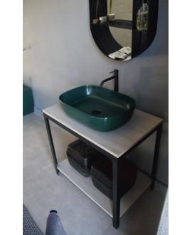 Meuble console de salle de bain métal NROP et bois 88 80x50cm H:74cm avec une vasque scarglam vert musk 55 56x69cm scarable