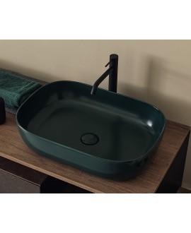 Vasque ovale vert mat en céramique 56x39cm hauteur 14cm  scarglam 1804 musk 55