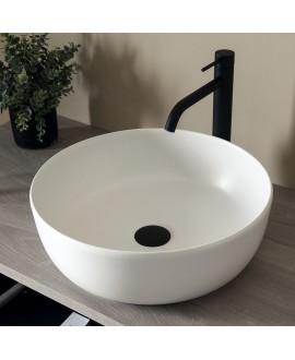 Vasque ronde blanc mat en céramique 33x12.5cm et 39x14cm scarglam pearl 41