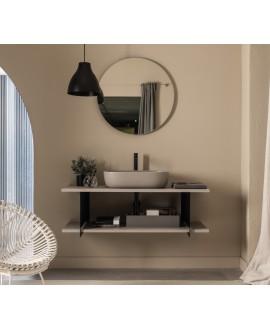 Meuble console de salle de bain métal noir NROP et bois 88 120x50cm avec une vasque scarglam sand 56x39cm scarslide