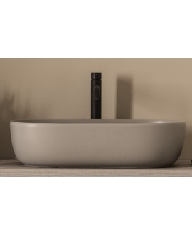 Vasque ovale taupe mat en céramique 56x39cm hauteur 14cm  scarglam 1804 sand 52