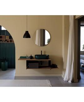 Meuble console de salle de bain métal noir NROP et bois 89 120x50cm avec une vasque scarglam verte musk 55 56x39cm scarslide
