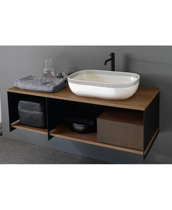 Meuble console de salle de bain métal noir NROP et bois 89 120x50cm avec une vasque scarglam blanc FSNR 56x39cm scarslide