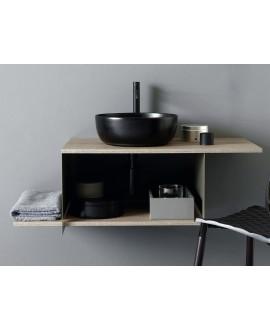 Meuble console de salle de bain métal noir NROP et bois 88 90x50cm avec une vasque scarglam noir 35 D:39cm scarslide