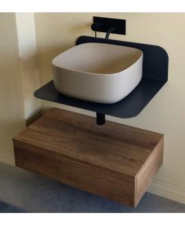 Meuble de salle de bain sur console métallique noire NROP 60x48x20cm vasque beige 42cm et tiroir 79x20cm scarplana