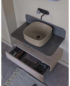 Meuble de salle de bain sur console métallique grise GRG 80x48x20cm vasque tabac 42cm et tiroir 79x20cm scarplana